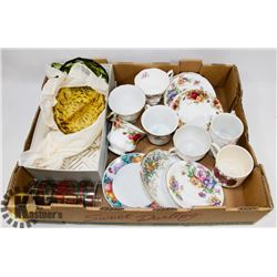 SET OF 3 SERVING PLATES AND ASSORTED BONE CHINA