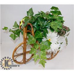 WICKER PLANT STAND W/ SILK FLOWERS & IVY -