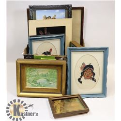 LOT OF VARIOUS PICTURES AND FRAMES