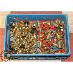 APPROX 100 BRASS VALVES AND FITTINGS