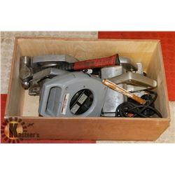BOX WITH SKIL SAWS, 7 METER WIND UP CORD, & MISC