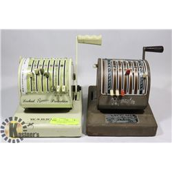 PAIR OF VINTAGE PAYMASTER CHEQUE MACHINES