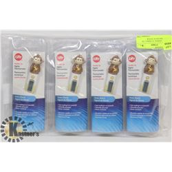 LOT OF 4 ANIMAL FLEXIBLE TIP THERMOMETER W/ FEVER