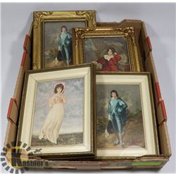 FLAT OF BLUE BOY AND PINK LADY FRAMED PICTURES