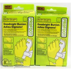 2 PAIRS OF PRO FOOT GOOD NIGHT BUNION SPLINTS