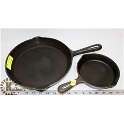SET OF CAST IRON FRYING PANS