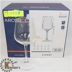 BOX OF 6 MADE IN FRANCE ARCOROC WINE GLASSES