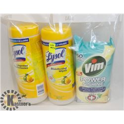 BAG OF LYSOL WIPES AND VIM POWER & SHINE