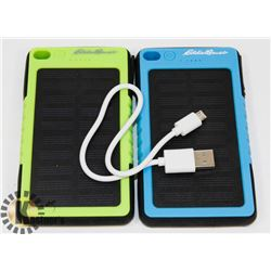LOT OF 2 EDDIE BAUER SOLAR POWER BANKS 6000MAH