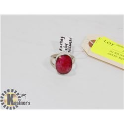 STERLING SILVER RUBY SILLIMANITE RING SIZE 9.