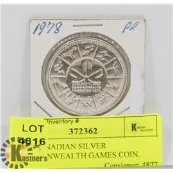 1978 CANADIAN SILVER COMMONWEALTH GAMES COIN.