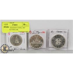LOT OF 3 CANADIAN COINS, 1967 SILVER HALF DOLLAR,