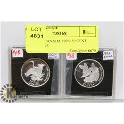 LOT OF 2 CANADA 1995- 50 CENT BIRD COINS