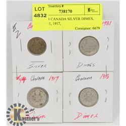 LOT OF 4 CANADA SILVER DIMES, 1907, 1931, 1917,