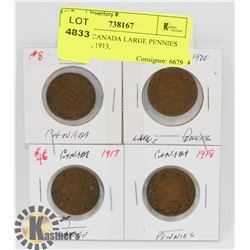 LOT OF 4 CANADA LARGE PENNIES 1917, 1918, 1913,