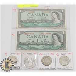 LOT OF CANADA CURRENCY, 1954 $1 BILLS, 1958