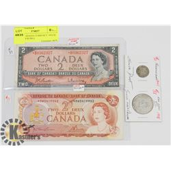 LOT OF CANADA CURRENCY 1954 $2 BILL, 1974 $2 BILL