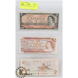 LOT OF 3 CANADA $2 BILLS 1954, 1974, 1986