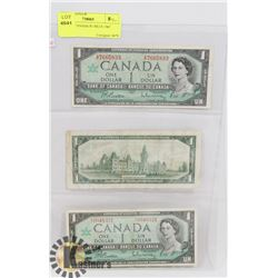 LOT OF 3 CANADA $1 BILLS 1967
