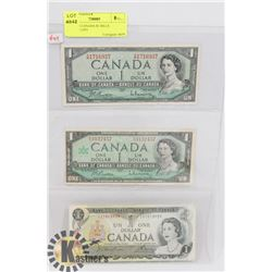 LOT OF 3 CANADA $1 BILLS 1954,1967,1973