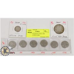 LOT OF CANADIAN COINS 1896 SILVER 10 CENT COIN,