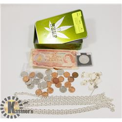 HEMP TIN BOX FULL OF CANADIAN COINS AND JEWELRY