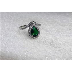 15)   PEAR CUT EMERALD WITH WHITE TOPAZ