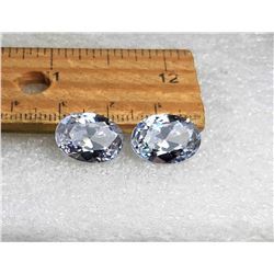 9)  LOT OF 2 MATCHED OVAL WHITE ZIRCON