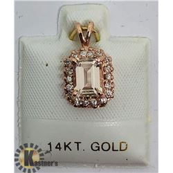 14K MORGANITE DIAMOND PENDANT