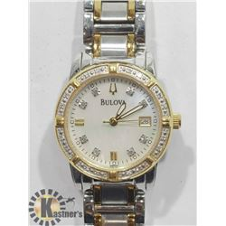 BULOVA TWO TONE CRYSTAL MOTHER OF PEARL FACE WATCH
