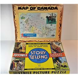 24)  LOT OF 2 PUZZLES, INCLUDING A BOX