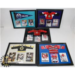 LOT OF 5 FRAMED HOCKEY CARD PICTURES INCL EDMONTON