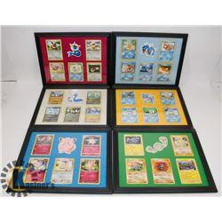LOT OF 6 POKÉMON FRAMED CARD PICTURES.