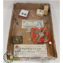FLAT OF ASSORTED INCLUDING CURRENCY, JEWELLERY