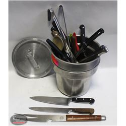 LOT OF 2 SOUP INSERTS W/ ASSORTED KNIVES, KITCHEN