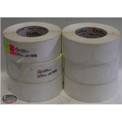 "6 ROLLS OF 1000 LABELS PLASTIC 3 1/2 X 2"" SELF"