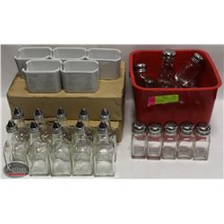 CRATE OF COUNTERTOP SHAKERS, SUGAR CADDIES,