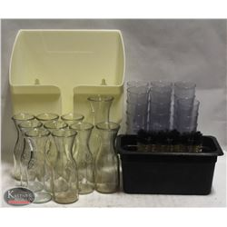 BOX W/ 8OZ CAMBRO TUMBLERS & GLASS WINE CARAFES