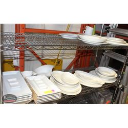 LOT OF ASSORTED WHITE DISHES AND SERVING PLATES.