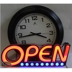 NEON OPEN SIGN SOLD WITH BLACK WALL CLOCK