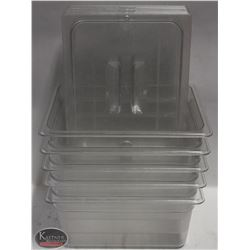 LOT OF 5 CAMBRO 1/2 SIZE FOOD INSERTS W/ LIDS