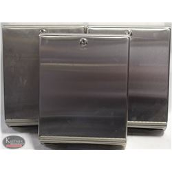 LOT OF 3 STAINLESS STEEL PAPER TOWEL DISPENSERS