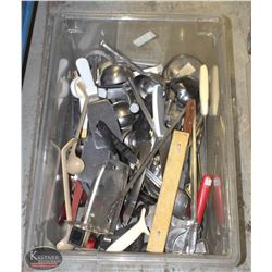 LARGE TOTE OF COMMERCIAL UTENSILS-ON CHOICE