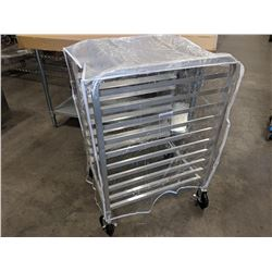"10 ALUMINUM BUN PAN RACK WITH COVER, 39"" HEIGHT"