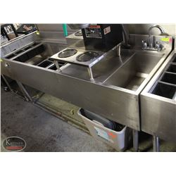 STAINLESS STEEL 2 WELL BAR SINK W/ FAUCET