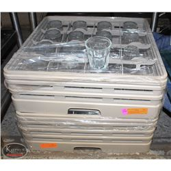 2 GLASS DISHWASHER TRAYS FULL OF ASSORTED GLASSES