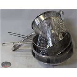 4 STAINLESS STEEL BOWLS W/ 3 STRAINERS