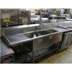 3-WELL S/S COMMERCIAL SINK W/ DUAL-RUNOFF & MINI-