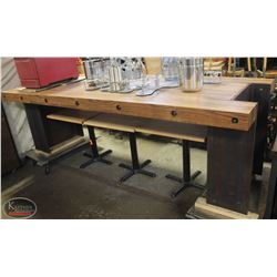 9' RUSTIC WOOD PLANK COMMERCIAL SERVING TABLE