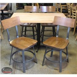 LAMINATED WOOD TOP TABLE W/ 4 WOODEN CHAIRS